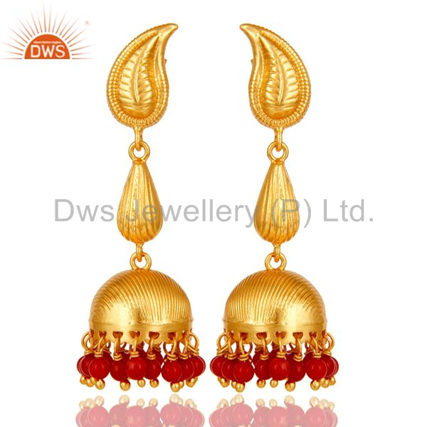 18k Gold Plated Sterling Silver Traditional Jhumka Earrings with Red Coral