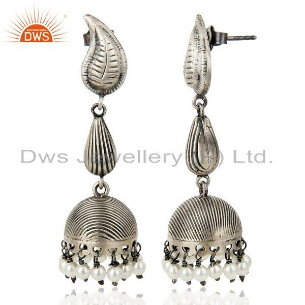Black Oxidized 925 Sterling Silver Traditional Handmade Pearl Jhumka Earrings