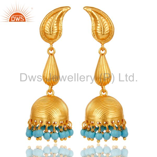 18k Gold Plated 925 Sterling Silver Traditional Jhumka Earrings With Turquoise