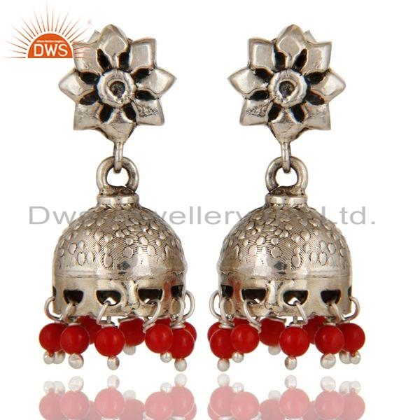 Solid 925 Sterling Silver Handmade Jhumka Earrings With Cultured Coral