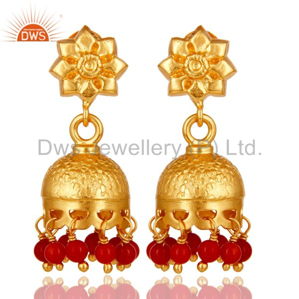 18k Gold Plated Sterling Silver Handmade Jhumka Earrings with Coral