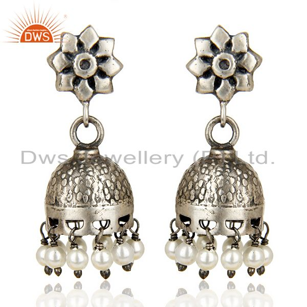 Black Oxidized 925 Sterling Silver Handmade Flower Design Pearl Jhumka Earrings