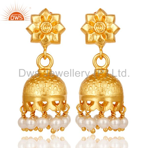 18k Gold Plated Sterling Silver Handmade Jhumka Earrings with Pearl