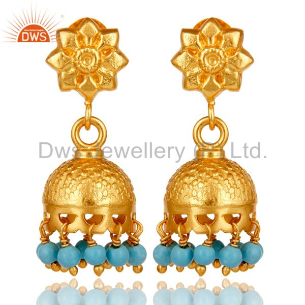 18k Gold Plated Sterling Silver Flower Carving Jhumka Earrings with Turquoise