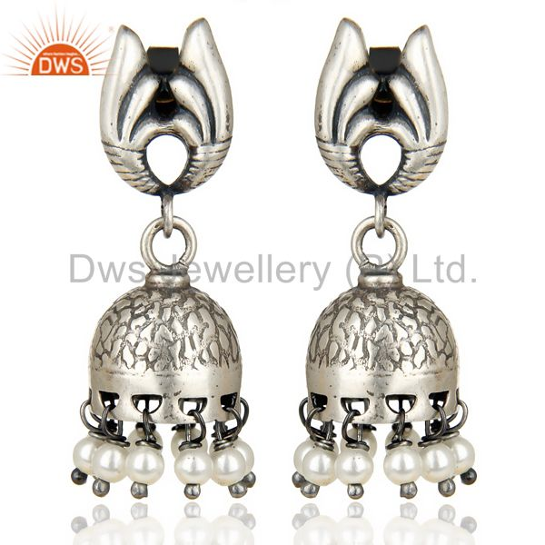 Oxidized 925 Sterling Silver Traditional Handmade Pearl Jhumka Earrings Jewelry