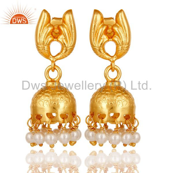 18k Yellow Gold Plated Sterling Silver Handmade Jhumka Earrings with Pearl