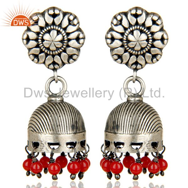 Oxidized 925 Sterling Silver Traditional Handmade Red Coral Jhumka Earrings