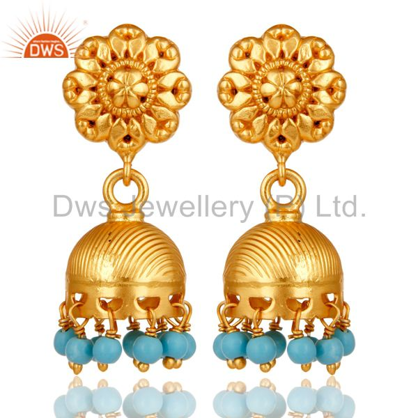 18k Gold Plated Sterling Silver Handmade Jhumka Earrings with Turquoise