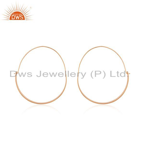 14k Rose Gold Plated 925 Sterling Silver Simple Hoop Earrings Manufacturer India