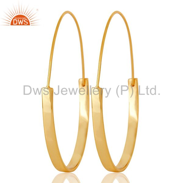 18k Gold Plated 925 Sterling Silver Women Large Round Hoop Dangle Earrings