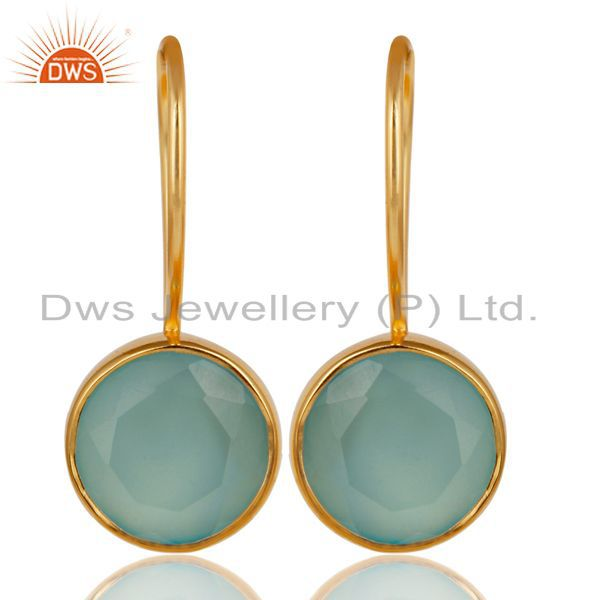 18K Yellow Gold Plated 925 Sterling Silver Dyed Chalcedony Drops Earrings