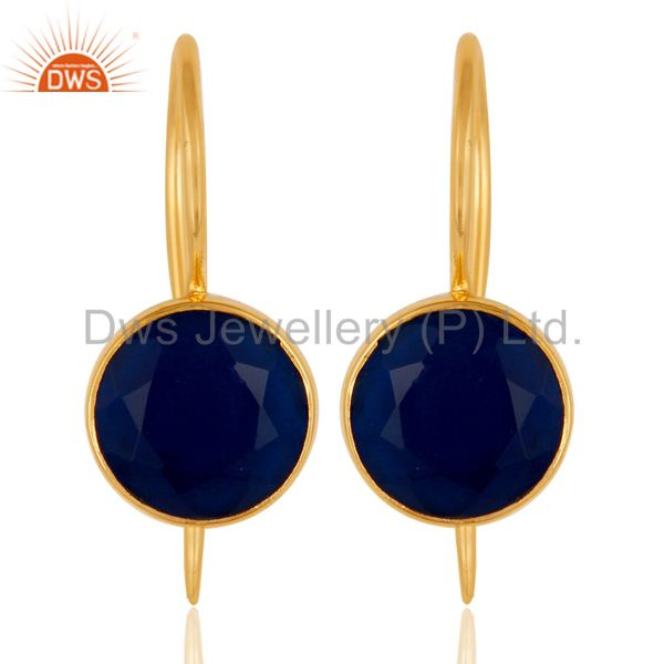 18k Gold Plated Sterling Silver Handmade Pin Style Earrings with Blue Corrundum