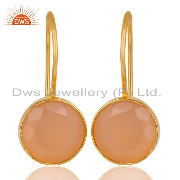 18K Gold Plated 925 Sterling Silver Handmade Dyed Chalcedony Drops Earrings