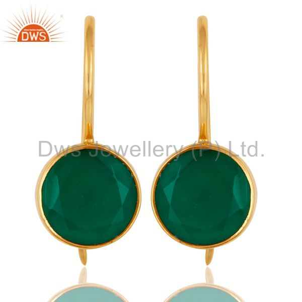 18k Gold Plated Sterling Silver Handmade Pin Style Drop Earrings with Green Onyx