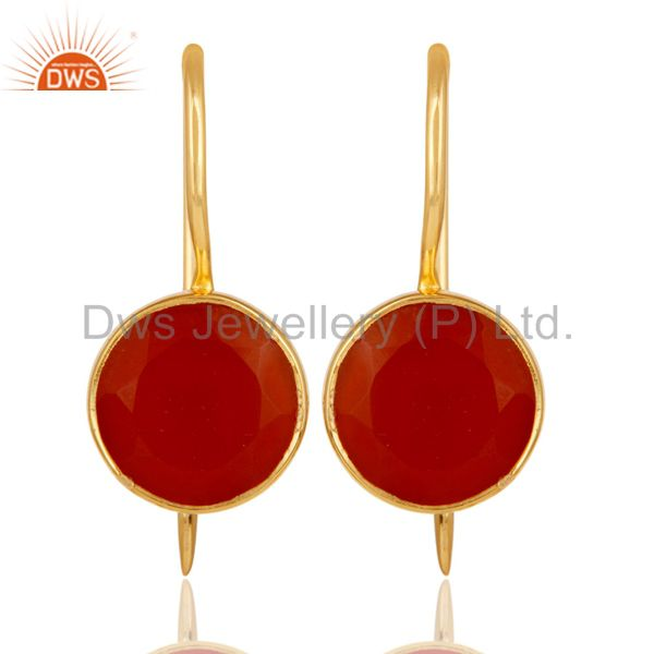 18k Yellow Gold Plated Sterling Silver Handmade Pin Style Earrings with Red Onyx