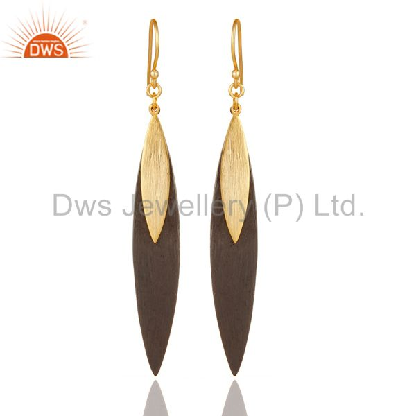 18k Gold Plated Sterling Silver Handmade Simple Design Drop/Dangle Earrings