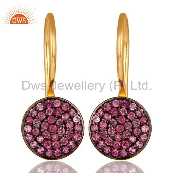 18k Gold Plated Sterling Silver Pin Drop Design Earrings with Pink Sapphire