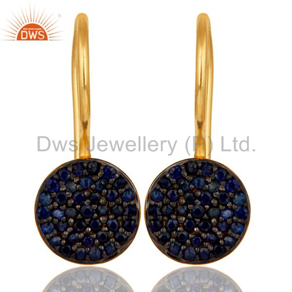 18k Gold Plated Sterling Silver Pin Drop Design Earrings with Blue Sapphire