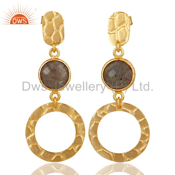 New Fashion Look 18k Gold Plated Sterling Silver Labradorite Drops Earrings