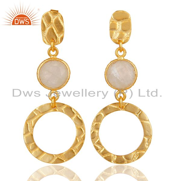 New Fashion Look 18k Gold Plated Sterling Silver Rainbow Moonstone Drop Earrings