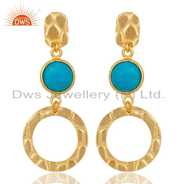 New Fashion Look 18k Gold Plated Sterling Silver Natural Turquoise Drop Earrings
