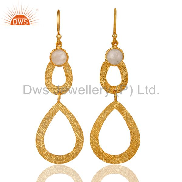 18k Gold Plated Sterling Silver Handmade Textured Design Moonstone Drops Earring