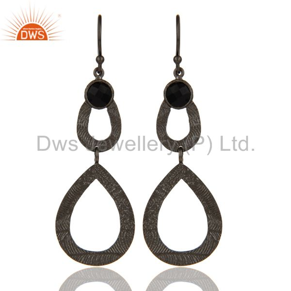 Black Oxidized Sterling Silver Handmade Textured Design Turquoise Drops Earring
