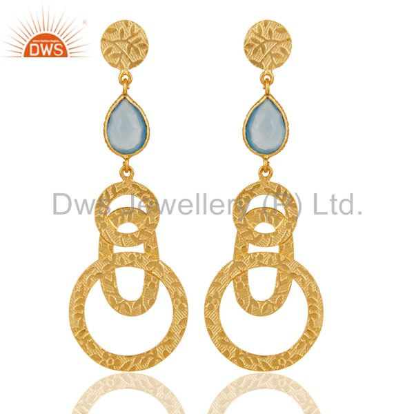 22k Gold Plated Sterling Silver Textured Bezel Set Dyed Chalcedony Drop Earrings