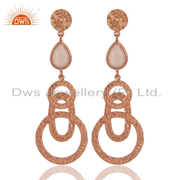 22k Rose Gold Plated Sterling Silver Textured Bezel Set Chalcedony Drop Earrings