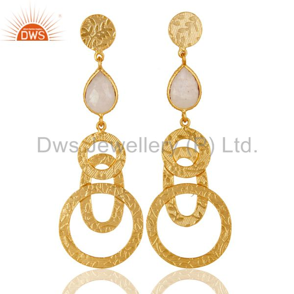 22k Gold Plated Sterling Silver Textured Bezel Set Moonstone Drops Earrings