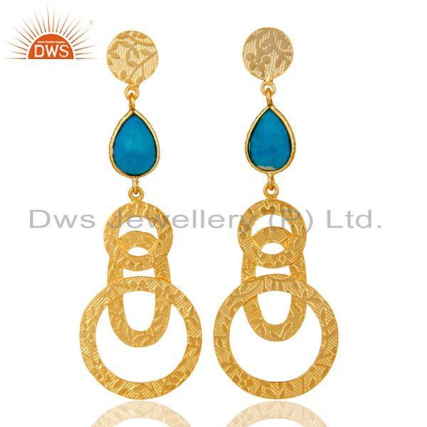 22k Gold Plated Sterling Silver Textured Bezel Set Turquoise Drops Earrings