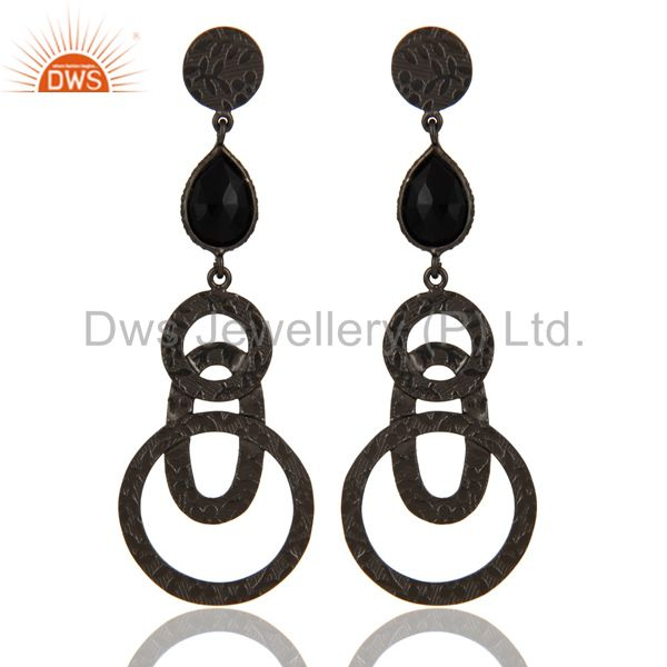 Black Oxidized 925 Sterling Silver Black Onyx Gemstone Bezel Set Drops Earrings