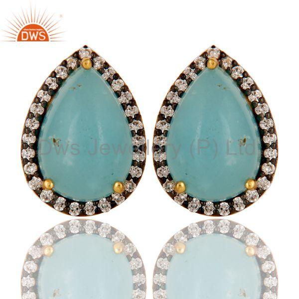 22K Gold Plated Sterling Silver Larimar & White Zircon Prong Set Studs Earrings