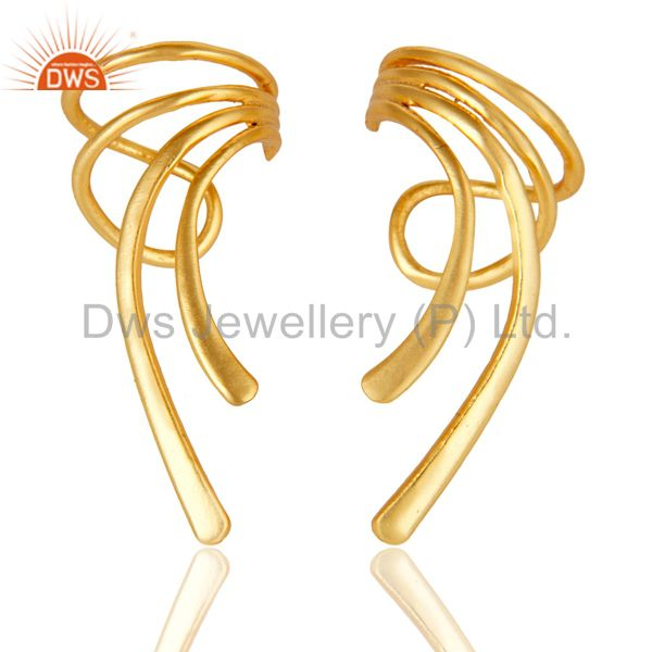 22K Gold Plated Traditional Handmade Art Design Brass Earrings Jewellery