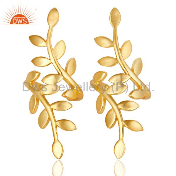 18K Gold Plated Traditional Handmade Design Brass Dangle Earrings Jewellery