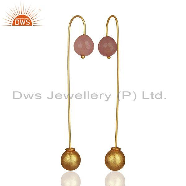Rose chalcedont gemstone ball and brass fashion ball dangle earrings