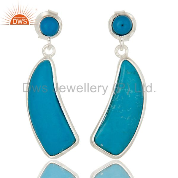 Solid 925 Sterling Silver Cultured Turquoise Gemstone Drops Earrings Jewellery