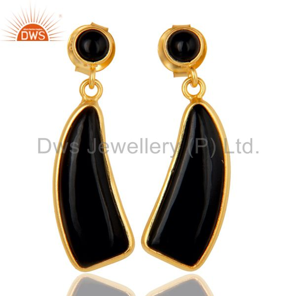 22K Gold Plated Sterling Silver Black Onyx Gemstone Drops Earrings Jewellery