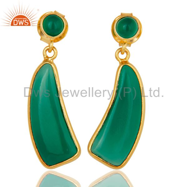 22K Gold Plated Sterling Silver Green Onyx Gemstone Drops Earrings Jewellery