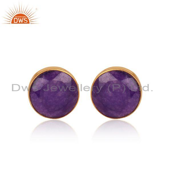 Aventurine Natural Amethyst Gold On Silver Round Earrings