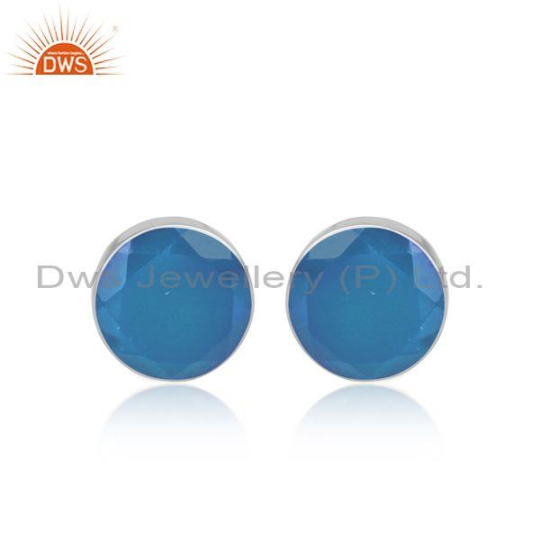 Blue Chalcedony Set Fine 925 Sterling Silver Round Earrings