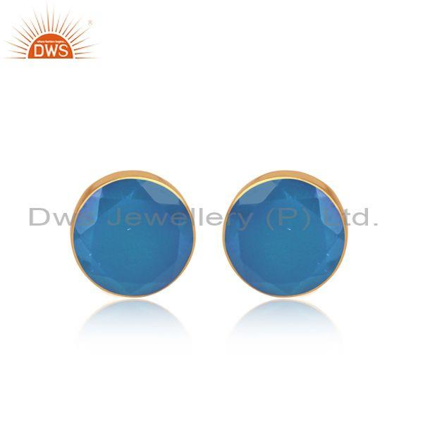 Blue Chalcedony Set Gold On Sterling Silver Round Earrings