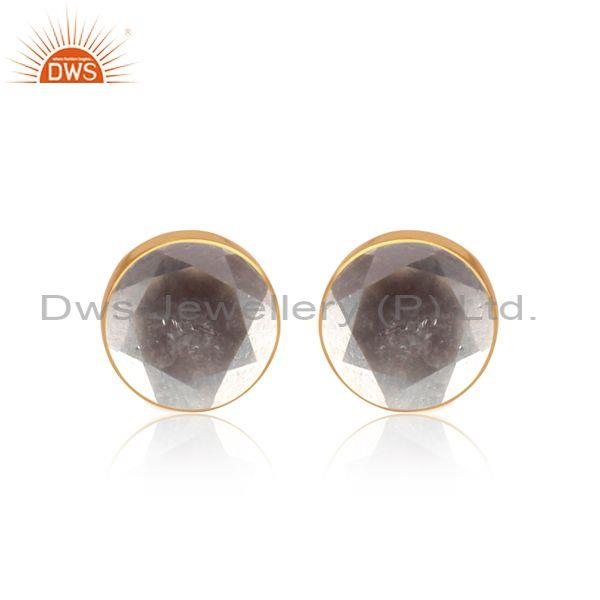 Crystal Quartz Set Gold On Sterling Silver Round Earrings