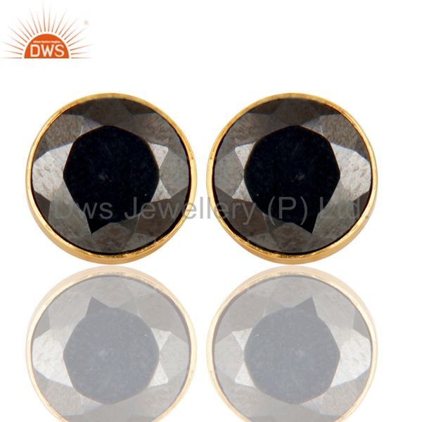 18K Gold Plated 925 Sterling Silver Round Hematite Gemstone Studs Earrings