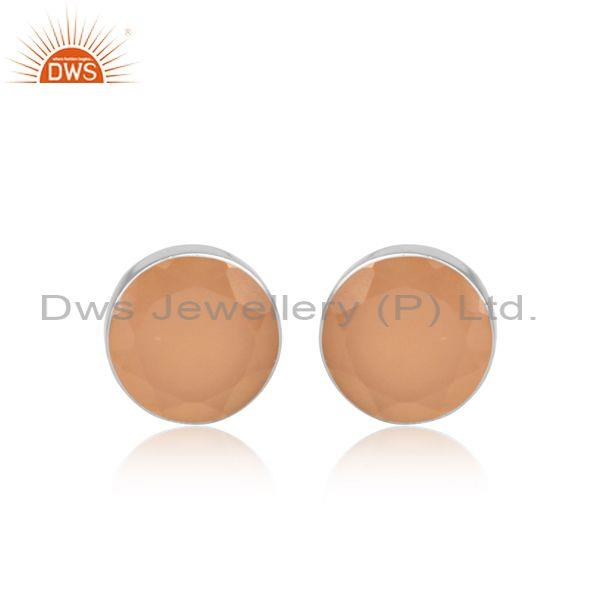 Rose chalcedony set fine 925 silver round shaped earrings
