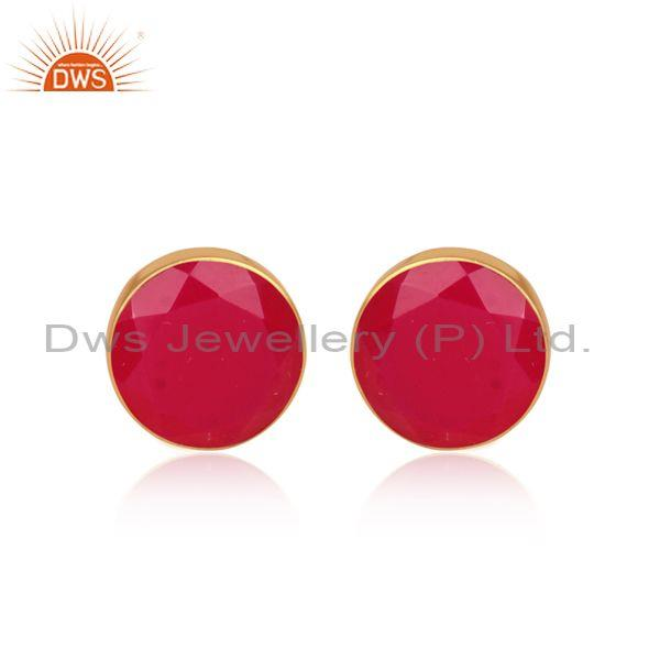 Pink Chalcedony Set Gold On 925 Silver Round Shape Earrings