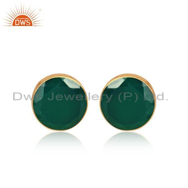 Green Onyx Set Gold On Sterling Silver Round Shape Earrings