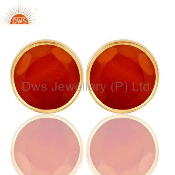 18K Yellow Gold Plated 925 Sterling Silver Round Red Onyx Gemstone Stud Earrings