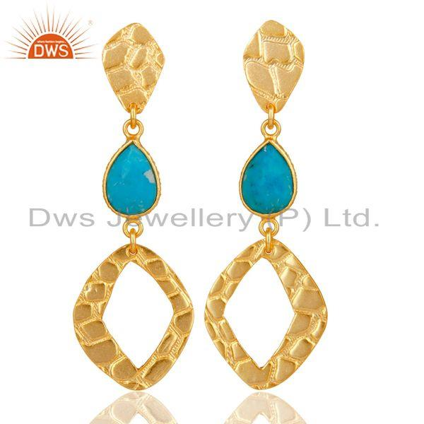 18K Gold Plated Sterling Silver Handmade Art Design Natural Turquoise Earrings