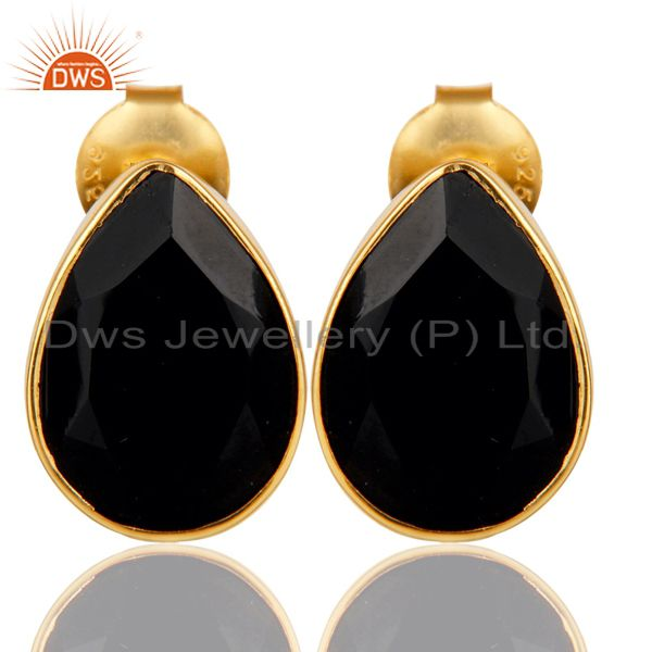 18K Yellow Gold Plated 925 Sterling Silver Black Onyx Studs Earrings